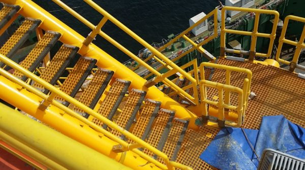 Hess Stampede TLP Hull exterior landings with AIMS WZ Grating and handrails (1)